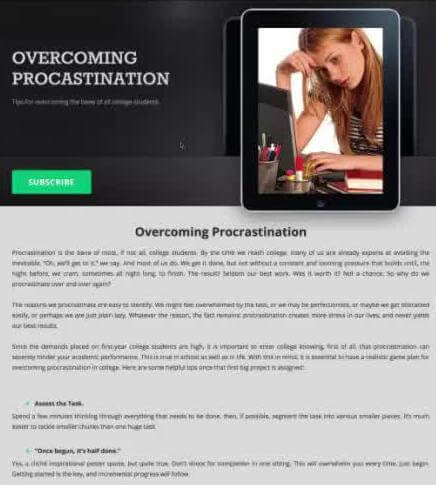 Overcoming Procrastination Landing page