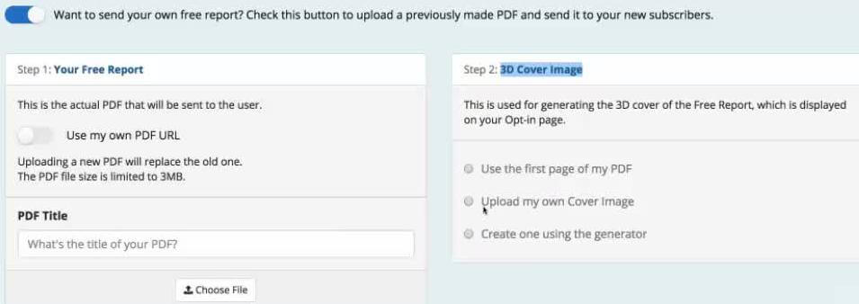 Upload option